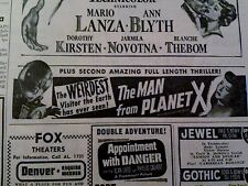 MAY 29, 1951 MOVIE AD #957- RANDOLPH SCOTT, SINFUL SOULS, MAN FROM PLANET X