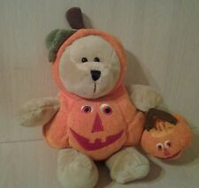 "2008 Starbucks Teddy Bear Pumpkin Costume plush 12"" Stuffed animal"