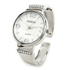 Silver Metal Crystal Band Large Face Women's Bangle Cuff Watch