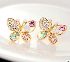 Butterfly Earrings Stud Crystal Rhinestone Gold Pearl Aurora Borealis Gift