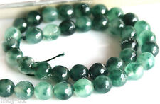 "8mm Natural Emerald Faceted Jade Round Gemstone Loose Beads 15"" Strand AAA"