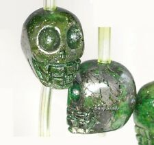 """12MM IRON PYRITE WITH INTRUSION GEMSTONE CARVED SKULL HEAD 12MM LOOSE BEADS 16"""""""