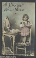 Amazing DOLL GIRL at Mirror for Make up circa 1905 Real Photo PC