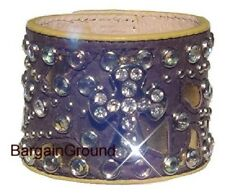 NEW LEATHER RHINESTONE BLING Brown CROSS CUFF BRACELET
