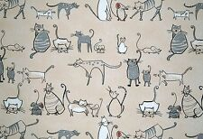 "Chess Designs Cat and Mouse Curtain Craft Designer Fabric 137cm/54"" wide"