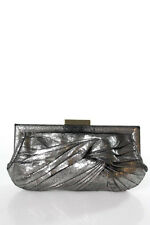 Anya Hindmarch Dark Gray Knotted Distressed Detail Gold Tone Clutch Handbag
