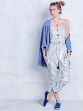Free People Sleepy Eyes Onesie Size M $108 Blue White Striped Jumpsuit