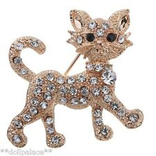 Gold Plated Crystal Rhinestone Vintage Cute Cat Brooch *UK*