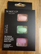 Make-Up Gallery Too Hot False Nails 36 Piece Pink Lime & Peach With Glue New