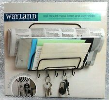 "Wayland Square Metal Letter Key Holder Black Wall Mount hooks NEW 8""x8"" organize"
