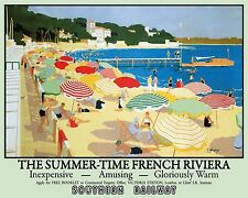 French Riviera Seaside Beach Southern Railway Art Deco Medium Metal/Tin Sign