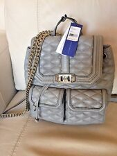 NWT Rebecca Minkoff Quilted Love Backpack Leather Chain Charkcoal $355.00