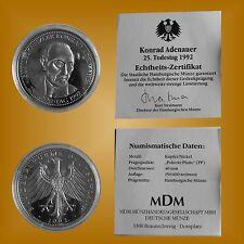 MDM Gedenkprägung BRD 25 Todestag Bundeskanzler Konrad Adenauer 1992