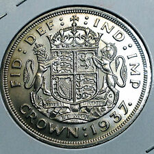 GREAT BRITAIN 1937 SILVER CROWN UNCIRCULATED BEAUTIFUL COIN