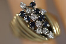 HEAVY 9.31G WIDE 14K SOLID YELLOW GOLD LONDON BLUE TOPAZ DIAMOND RING 14KT SZ 5