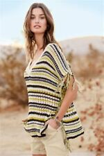 BNWT NEXT Black White Mustard Fringed Tape Sweater Poncho Size S Small RRP £35