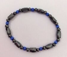 Hematite High Power Magnetic Stretch Bracelet Blue Black Beads Rheumatism Male