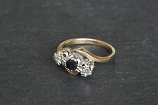 Vintage 9ct Yellow Gold Sapphire & Diamond Three Stone Crossover Cross Over Ring