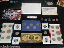 junk drawer COIN LOT Mint Set +Susan B Dollars OLD COINS+Roll Pennies+Gold Foil