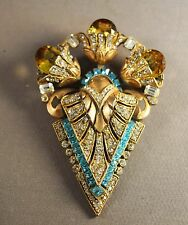 RARE Signed Staret Art Deco Huge Brooch!  OUTRAGEOUSLY DECADENT!