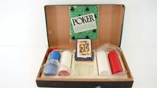 VINTAGE 1950 POKER SET CHIPS CARDS ORIGINAL GREEN BOX CARD GAME HOLD'EM