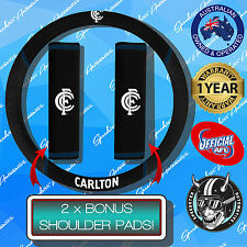 CARLTON BLUES FC CAR STEERING WHEEL COVER + SEAT BELT COVERS, OFFICIAL AFL!