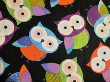 OWLS FOXY OWLS COLORED BLACK OWL COTTON FABRIC FQ