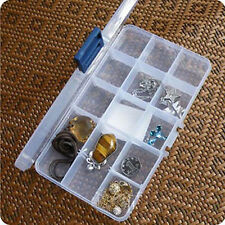 15 Grid Transparent Box Jewelry Content Compartments Plastic Storage Box P366
