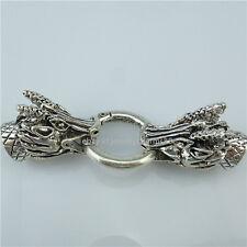 13881 2PCS Antique Dragon Clasp Connector for Men Punk Bracelet Necklace Making