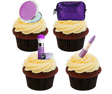 Make-up Cosmetics Edible Cup Cake Toppers, Standup Fairy Decorations Girl Purple