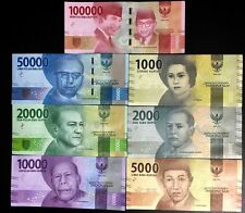 Indonesia - Complete set of 7 UNC currency notes - New 2016 dance series issue