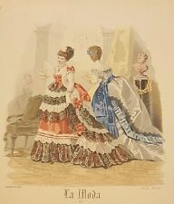 Spanish Fashion - LA MODA Del Correo De Ultramar - Two (2) Ladies in Parlor 1872