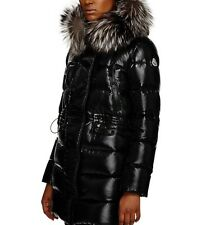 New Authentic 2017 Moncler Aphrotiti Metallic Cinched Waist Down Coat Nwt Black