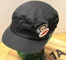 PAUL FRANK CADET/MILITARY STYLE BLACK YOUTH HAT WITH MONKEY FACE LOGO OSFM VGC