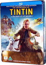 Tintin Secret Of The Unicorn Bluray in Steel Case Childrens Film DVD New Sealed