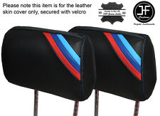 M STRIPES BLUE STITCH 2X FRONT HEADREST SKIN COVERS FITS BMW 3 SERIES E36 92-99