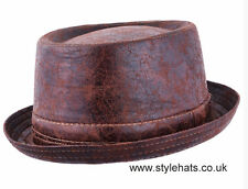 Worn Look Distressed Leather Look Pork Pie Hat Colour Brown 59 cm Large 7 1/4