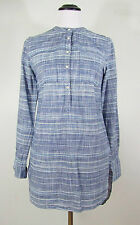 NWT Merona Long Sleeve ½ Button Down Tunic Blue Chambray Band Collar MEDIUM