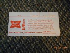 Old Vintage Milwaukee Braves Miller High Life Tickets Mail Order Form Envelope