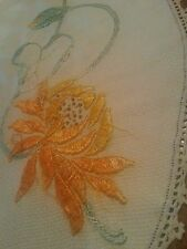 Antique Arts Crafts Era Huge Pumpkin Silk embroid Flowers Primitive Tablecloth