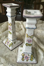 PAIR HAND PAINTED PORTUGESE ART POTTERY CANDLESTICK HOLDERS