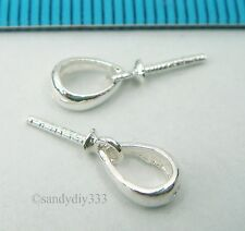 4x BRIGHT STERLING SILVER PENDANT CLASP PEARL BAIL PIN SLIDE #2325
