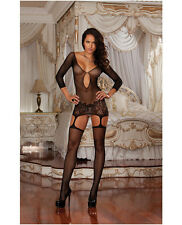 FISHNET GARTER DRESS BODYSTOCKING LACE HEM & ATTACHED THIGH HIGH STOCKINGS