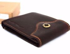 Men's Natural Leather Wallet 4 Card Slots 1 id Window 2 Bill Sections Bifold