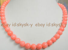 18 inch beautiful 7-8mm Jewelry Necklace pink coral round beads