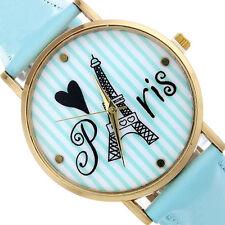 Women Watch Tower Stripe Pattern Faux Leather Analog Quartz Wrist Watch T-STORE