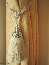 2 Curtain tassel tie backs Large Chrome trim natural cotton tiebacks rope ties