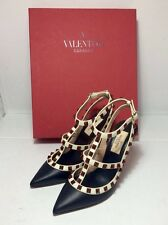 =LUXURIOUS CHIC= VALENTINO Rockstud Black Ivory Cage Red Studs Leather Heels US5