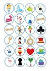 24 edible icing cake toppers decorations Alice in wonderland Mad Hatter new mix