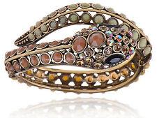 South West Topaz Bead Crystal Rhinestone Serpent Snake Wrap Bracelet Bangle Cuff